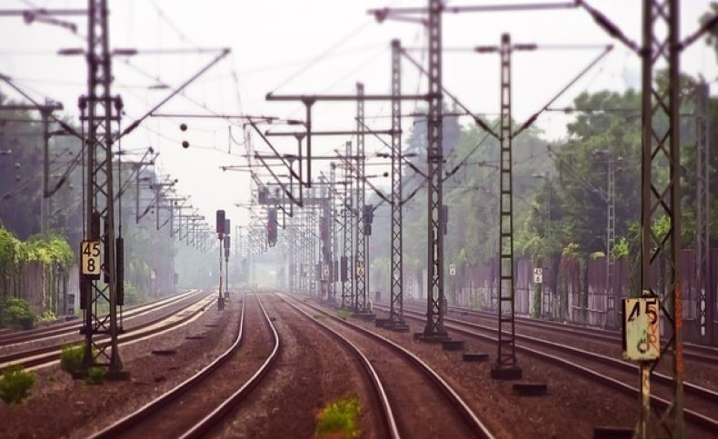 rail tracks with overhead cables