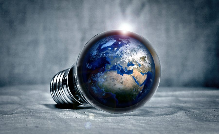 the globe within a light bulb