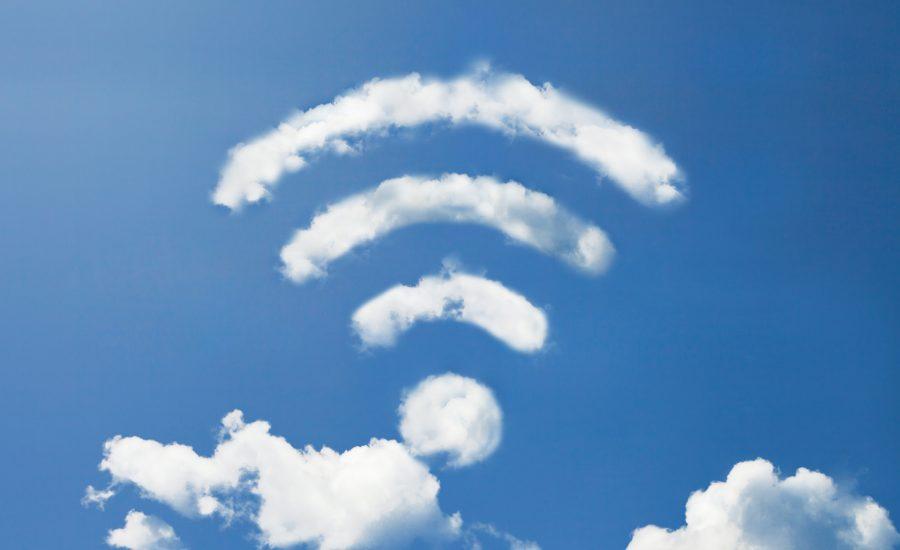 WiFi cloud symbol in sky