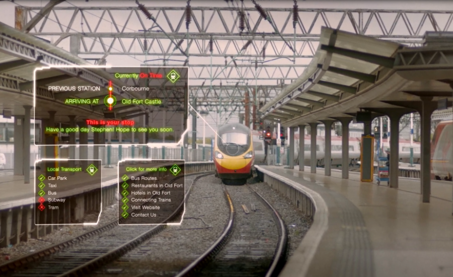 Train arriving with time table infographic