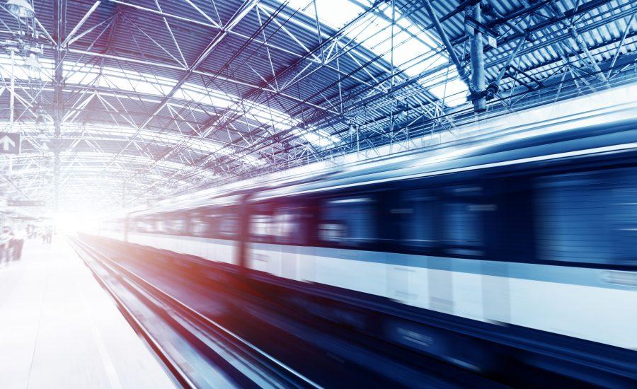 blurry train leaving the platform