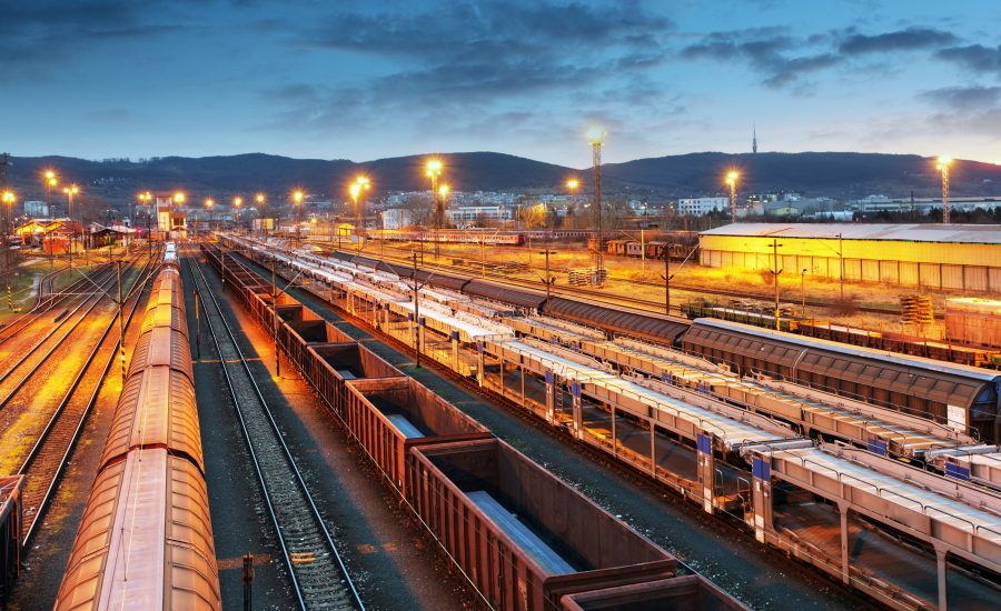 cargo trains stationary at depot